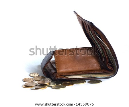 purse and money - stock photo