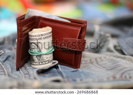 purse bundle of banknotes dollars twist - stock photo