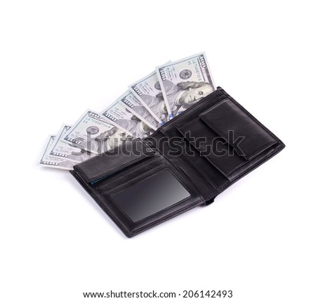 Purse full with dollar bills. Isolated on a white background.