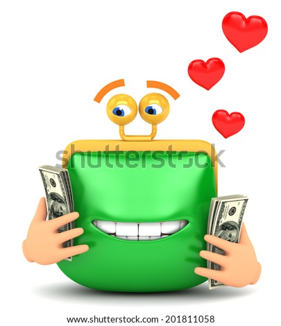 purse loves money white background - stock photo