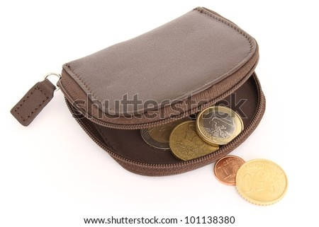 purse with a few coins - stock photo
