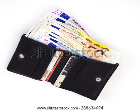 Purse with banknotes - stock photo