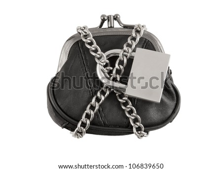 Purse with chain and padlock isolated on white background