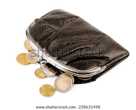 Purse with coins on a white background - stock photo