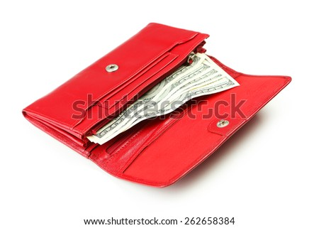 Purse with dollars banknotes isolated on white - stock photo