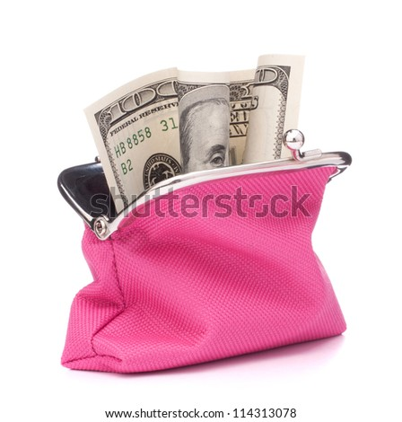 Purse with hundred dollar banknote isolated on white background cutout - stock photo