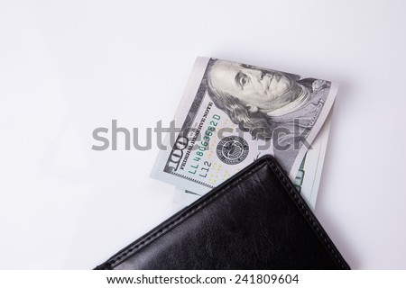 purse with hundred dollar banknotes on white background - stock photo