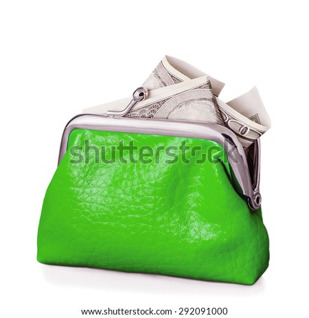 Purse with hundred euro banknote isolated on white background. Focus is on the purse.  - stock photo