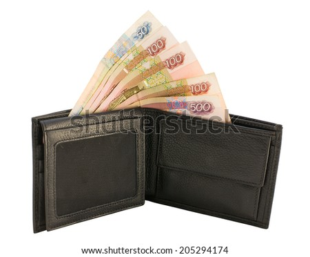 purse with money isolated