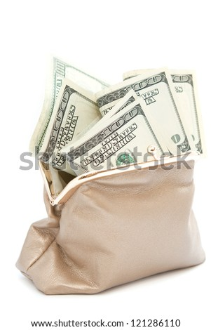 Purse with money on a white background - stock photo
