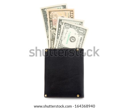 Purse with moneys (dollars) isolated on white background - stock photo
