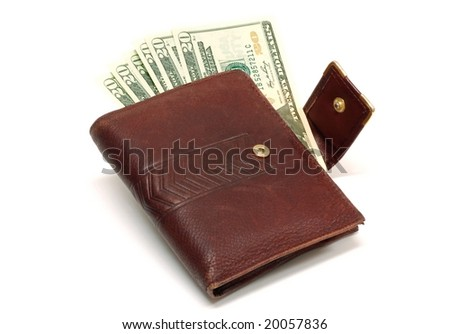Purse with twenty dollar bills on the inside