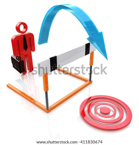 Pursuit of goal. Businessman jumping over a obstacle in the design of information related to the desires and business.3D illustration - stock photo