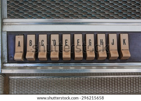 Push button juke box have dust and stain. - stock photo