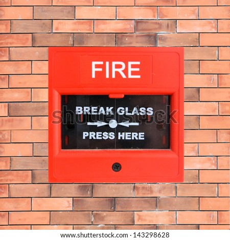 Push button switch fire alarm isolate on wall