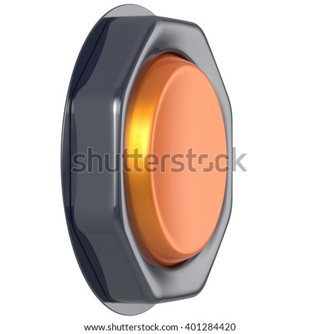 Push down button orange start turn on off action activate switch ignition power electric indicator design element metallic yellow shiny blank led lamp. 3d render isolated - stock photo