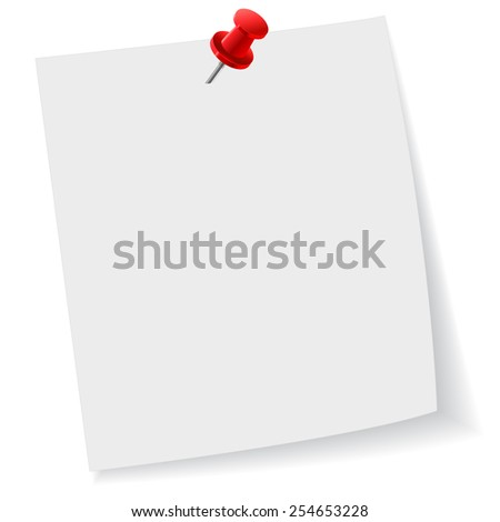 Push, pin, note, paper, office, business, clip art - stock photo