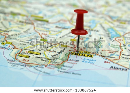 push pin pointing at Antalya, Turkey (Turquoise Coast) - stock photo