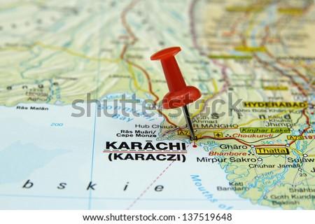 push pin pointing at Karachi, Pakistan - stock photo