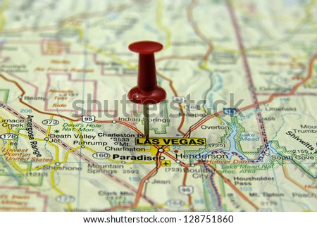 push pin pointing at Las Vegas, USA - stock photo
