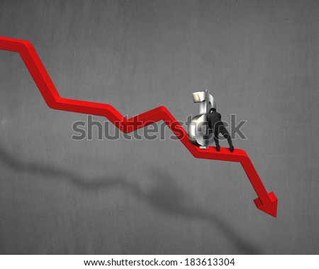 Pushing and moving up 3d money symbol on going down red arrow - stock photo