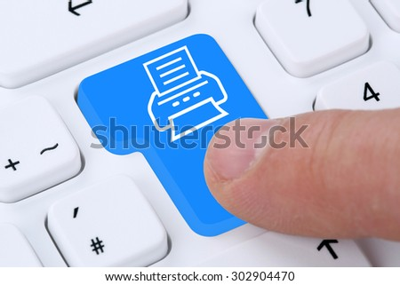 Pushing button on computer print document printing on printer from keyboard - stock photo