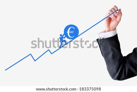 Pushing euro zone economy - stock photo