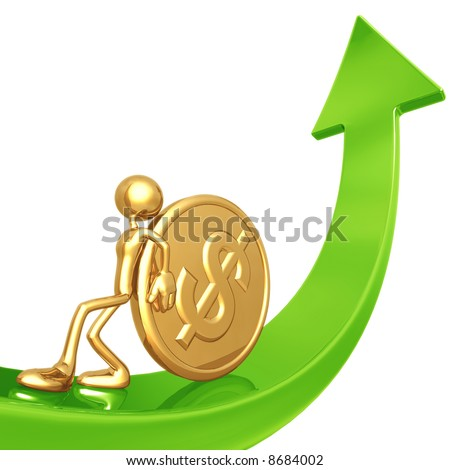 Pushing Gold Dollar Coin Up Arrow - stock photo