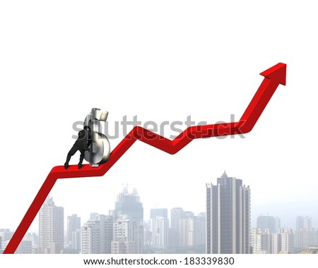 Pushing money symbol up on growing red arrow city view background - stock photo