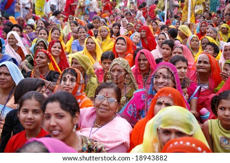 Pushkar, India - May 2008. Gathering of brahmin woman during a match making for their children's wedding - stock photo