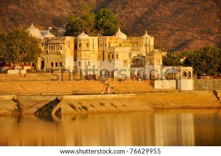 Pushkar lake - stock photo