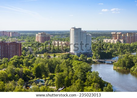 Pushkino, Russia, on April 24, 2011. A view of the city from a high point
