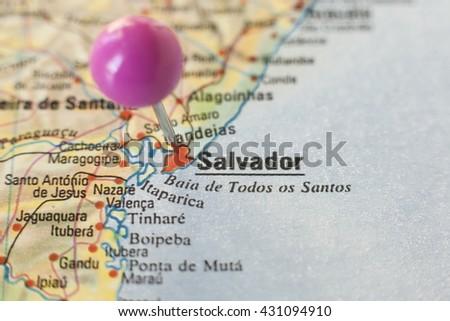 Pushpin marking on Salvador de Bahia, Brazil. Selective focus on city - stock photo