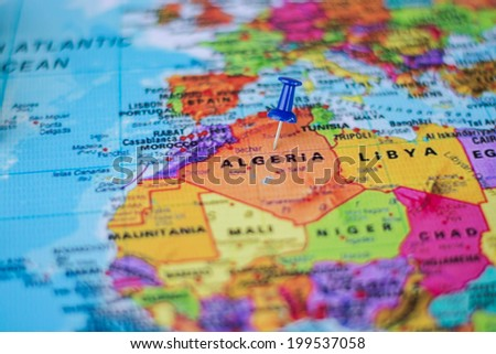 pushpin marking the location,Algeria - stock photo