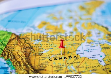Pushpin marking location canada stock photo safe to use 199537733 pushpin marking the location canada gumiabroncs Choice Image