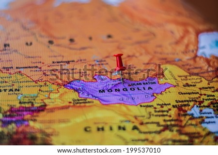 pushpin marking the location,Mongolia - stock photo