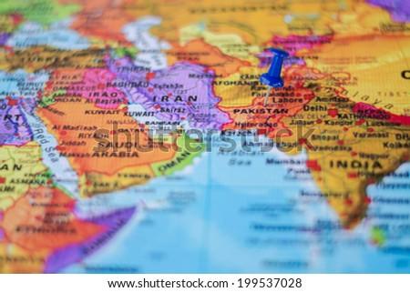 pushpin marking the location, Pakistan - stock photo
