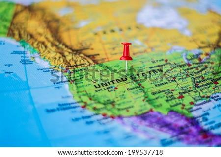 pushpin marking the location,United States - stock photo