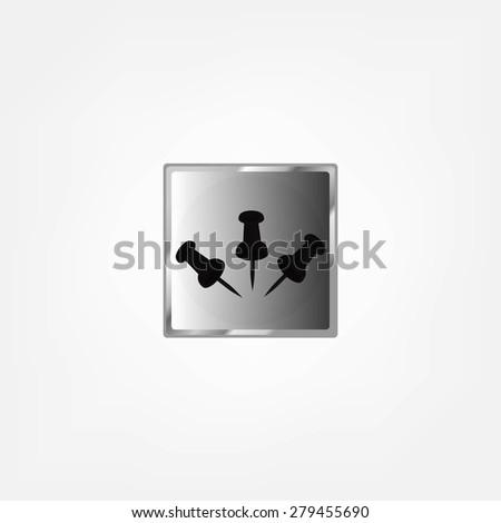 pushpin on a white background - stock photo