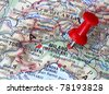 pushpin on the map - Milano - stock photo