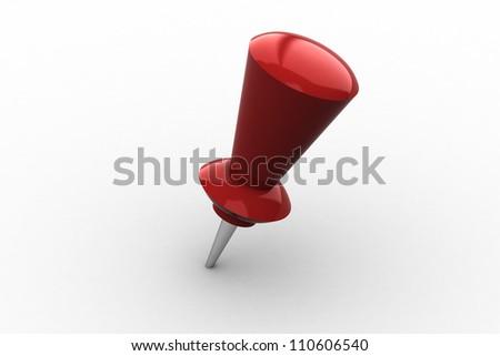 pushpin on white background - stock photo