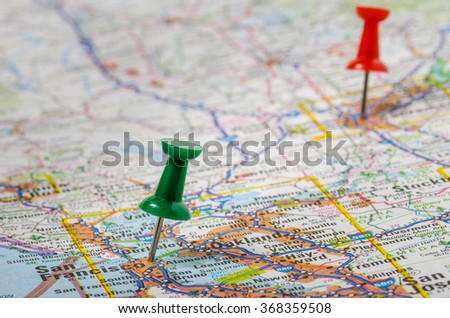 Pushpins on a Road Map of California. Shallow Deep of Field - stock photo