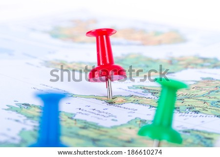 Pushpins showing and pointing the location of destination point on map Ankara, Turkey. - stock photo