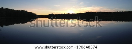 Puskus Lake at sunset in Holly Springs National Forest, Mississippi - stock photo