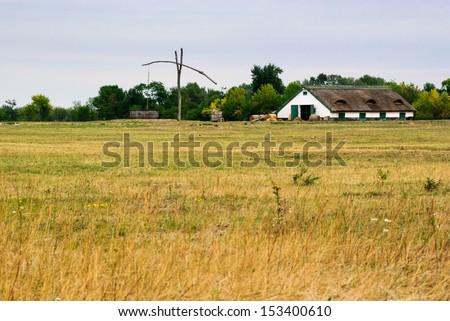 puszta farm hungary - stock photo