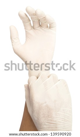 put glove on isolate white background - stock photo