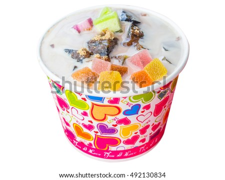 Put ice sweet, jelly, sugar, milk, black jelly. on white background
