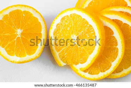 Put orange slicec on a white background