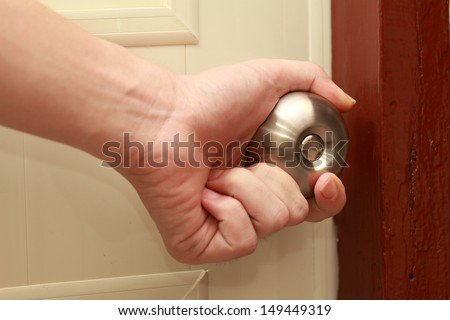 Put Hand On Doorknob Open Stock Photo (Royalty Free) 149449319 ...