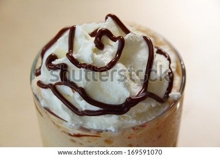 Put whipped cream iced coffee